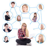Teenage girl with laptop and her social network isolated on whit Royalty Free Stock Photography