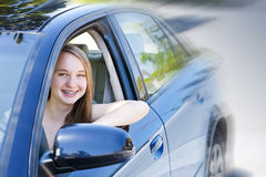 Teenage girl learning to drive royalty free stock image