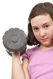 Teenage girl lifting weight Royalty Free Stock Photography