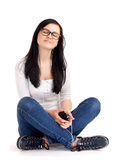 Teenage girl listen music Stock Photo