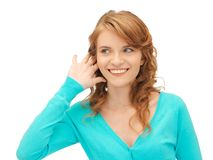 Teenage girl listening gossip Stock Photo