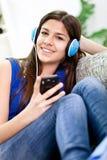 Teenage girl listening music Royalty Free Stock Photos