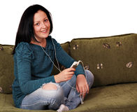 Teenage girl listening music Stock Photography