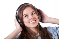 Teenage girl listening the music Stock Image