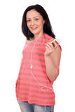 Teenage girl listening music on phone Stock Photo