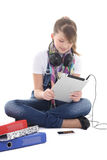 Teenage girl listening music with tablet pc Royalty Free Stock Photos