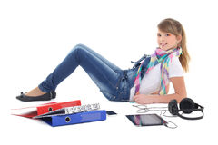 Teenage girl listening music with tablet pc Stock Photo