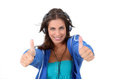 Teenage girl listening to music Royalty Free Stock Image