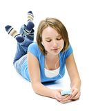 Teenage girl listening to music Stock Image