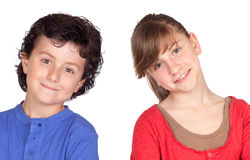 Teenage girl and little boy Stock Image