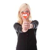 Teenage girl with lollipop Royalty Free Stock Photography