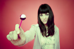 Teenage Girl With Lollipop stock photo