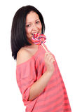 Teenage girl with lollipop Royalty Free Stock Images