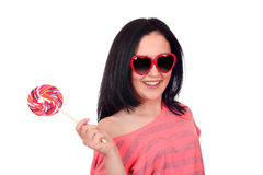 Teenage girl with lollipop on white Stock Photo