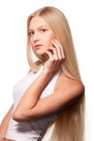 Teenage girl with long blonde hair Royalty Free Stock Photography