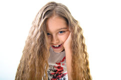 Teenage girl with long hair Stock Images