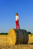 Teenage girl with long hair posing in summer field, countryside Stock Photos