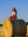 Teenage girl with long hair posing in summer field, countryside Stock Photo
