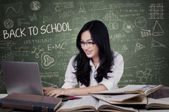 Teenage girl with long hair studying in class Royalty Free Stock Image