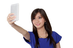 Teenage girl look at her phone Stock Photo