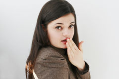 Teenage girl looking surprised Stock Images