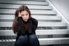 Free Teenage Girl Looking Thoughtful About Troubles Stock Image - 25471441