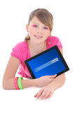 Teenage girl lying and using tablet pc with search panel isolate Stock Photography
