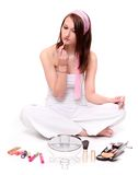 Teenage girl making make-up. Stock Photo