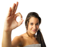 A teenage girl making an OK sign Royalty Free Stock Image
