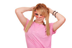Teenage girl with mask Stock Photography