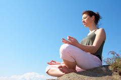 Teenage Girl Meditating Stock Images