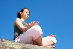 Teenage Girl Meditating Stock Photography