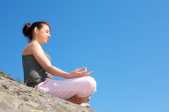 Teenage Girl Meditating Stock Photos