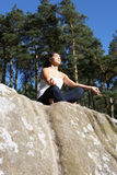 Teenage Girl Meditating Outdoors Royalty Free Stock Photos