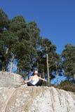 Teenage Girl Meditating Outdoors Stock Photo