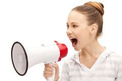 Teenage girl with megaphone. Bright picture of teenage girl with megaphone Stock Images