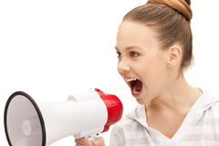 Teenage girl with megaphone Stock Photo