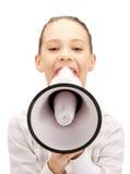 Teenage girl with megaphone Stock Photo