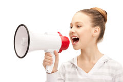 Teenage girl with megaphone. Bright picture of teenage girl with megaphone Royalty Free Stock Photos