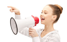 Teenage girl with megaphone Royalty Free Stock Photo