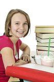 Teenage girl with milkshake Royalty Free Stock Photos