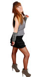 Teenage girl in mini skirt posing Royalty Free Stock Photo