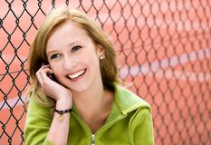 Teenage girl with mobile phone Stock Photos