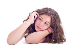 Teenage girl with mobile telephone Royalty Free Stock Images