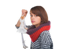 Teenage girl with nice puppet. Isolated on white background Royalty Free Stock Photo