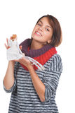 Teenage girl with nice puppet. Isolated on white background Royalty Free Stock Images