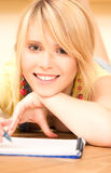 Teenage girl with notebook and pen Royalty Free Stock Image