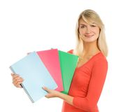 Teenage girl with notebooks Stock Photos