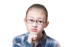 Teenage girl with offended expression. Isolated on white Royalty Free Stock Photo