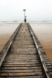 Teenage Girl On Old Sea Pier Royalty Free Stock Images